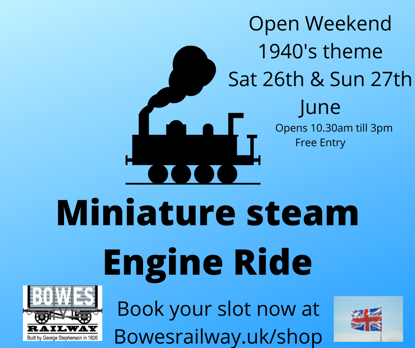 Picture of SLOT   11. 30 am  Book a children's ride on our miniature STEAM engine