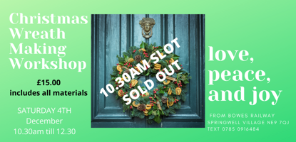 Picture of THIS SLOT SOLD OUT    CHRISTMAS WREATH MAKING SATURDAY 4TH DECEMBER  10.30AM TILL 12.30